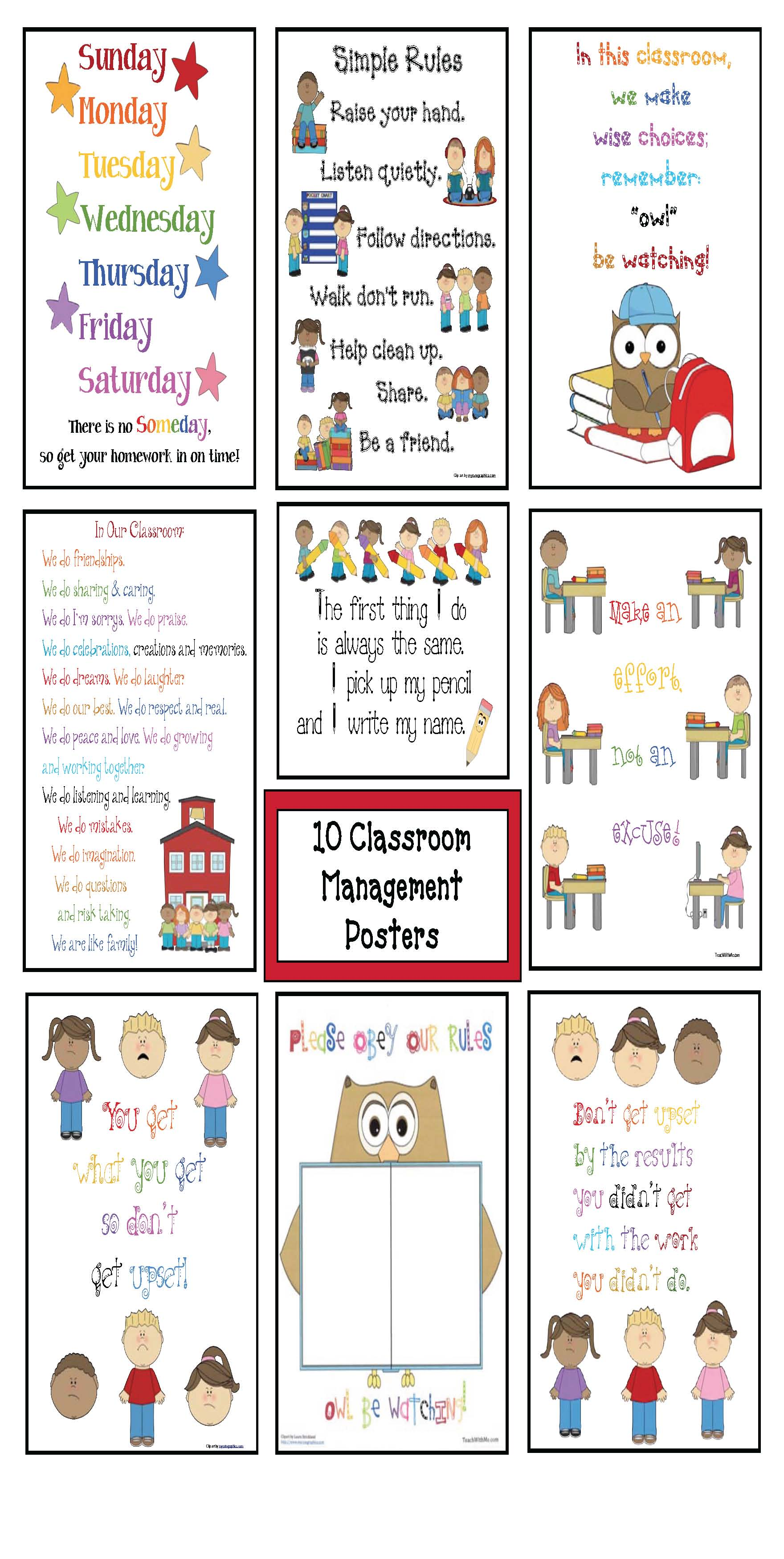 classroom management activities, free classroom posters