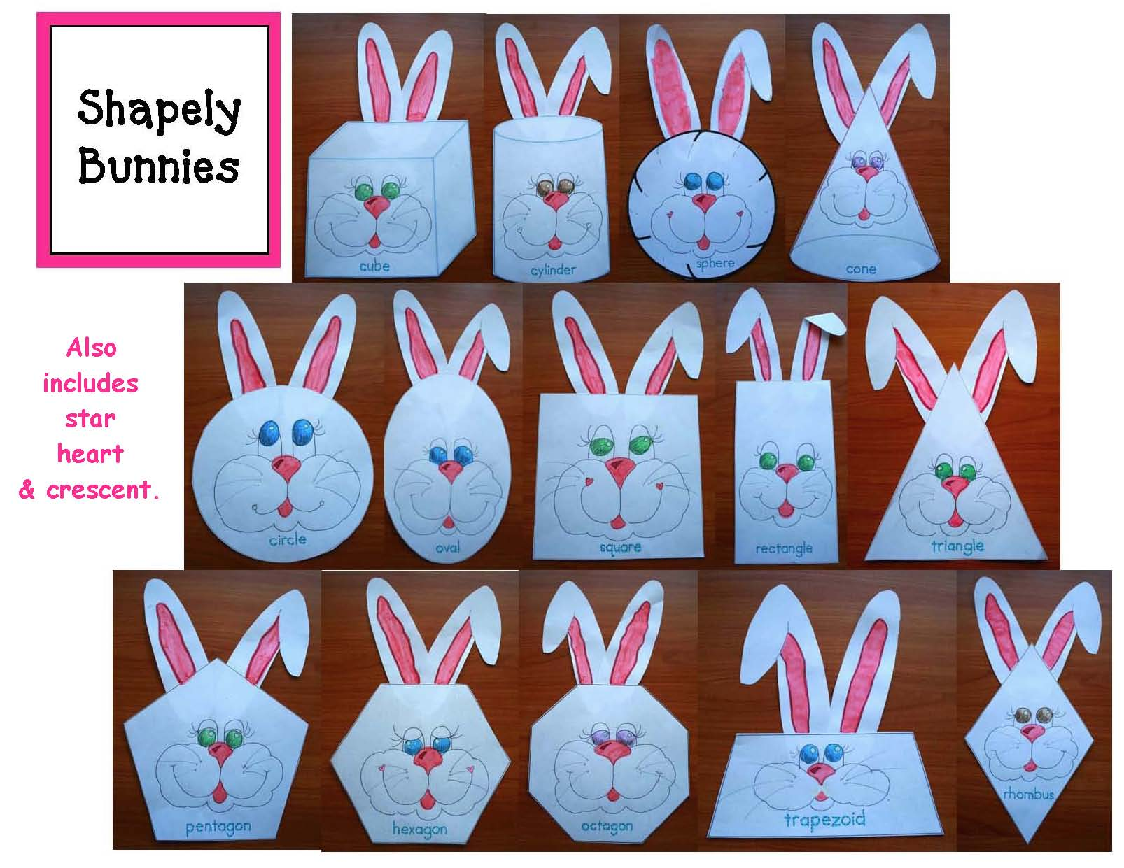 ick word family activities, op word family activities, easter crafts, chick crafts, bunny crafts, 2D shape activities, 2D shape crafts, 3D shape activiteis, 3D shape crafts, hexagon activities