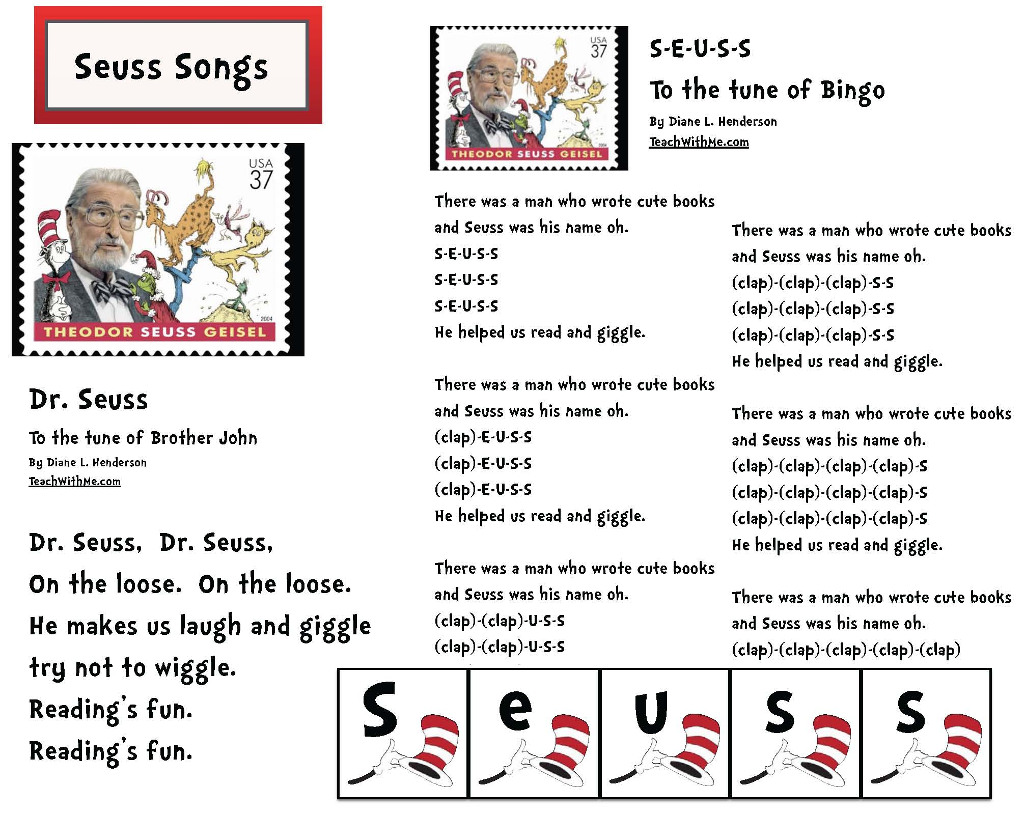 seuss songs, seuss games, seuss writing prompts, seuss class made books, seuss alphabet book, seuss alphabet cards, writing prompts for march, march writing prompts, writing prompts for dr seuss, dr seuss activities, common core seuss
