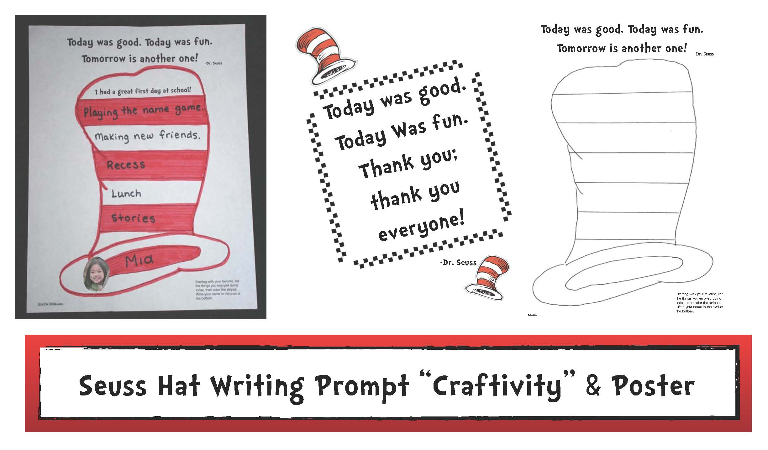 seuss activities, dr seuss activities, ideas for dr seuss, writing prompts for seuss, first day of school writing prompts, first day of school activities, 1st day ideas, cat in the hat ideas, seuss hat pattern, seuss hat template