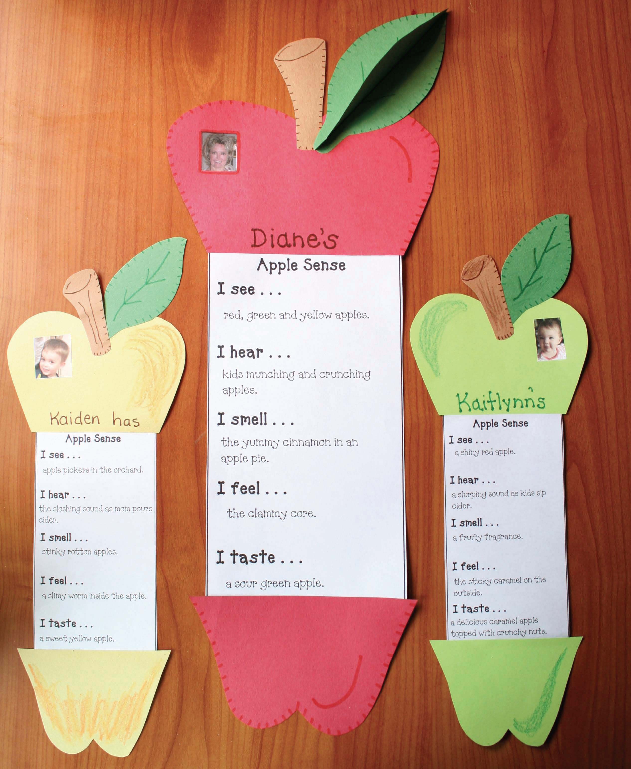 apple activities, apple crafts, apple writing promtps, september writing prompts, fall bulletin boards, apple bulletin boards, 5 senses crafts, 5 senses activities, 5 senses writing prompts, 5 senses poster, parts of an apple poster, parts of an apple activities