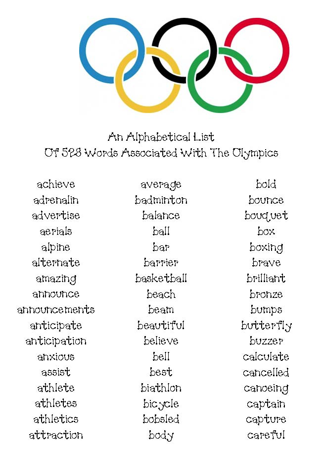 olympic alphabet cards, alphabet activities, alphabet games, olympic games for kids, olympic word searches, 4 olympic word finds, olympic word finds, olympic puzzles, a list of 50 words associated with the olympics, 300 olympic word cards, olympics writing activities, olympics writing prompts, writing prompts for the olympics, olympic word games, how many words can you make using the letters in olympics, olympics books for kids, olympics acrostic, noun verb adjective sorting mat, noun verb adjective activities, parts of speech activities, olympics class book,