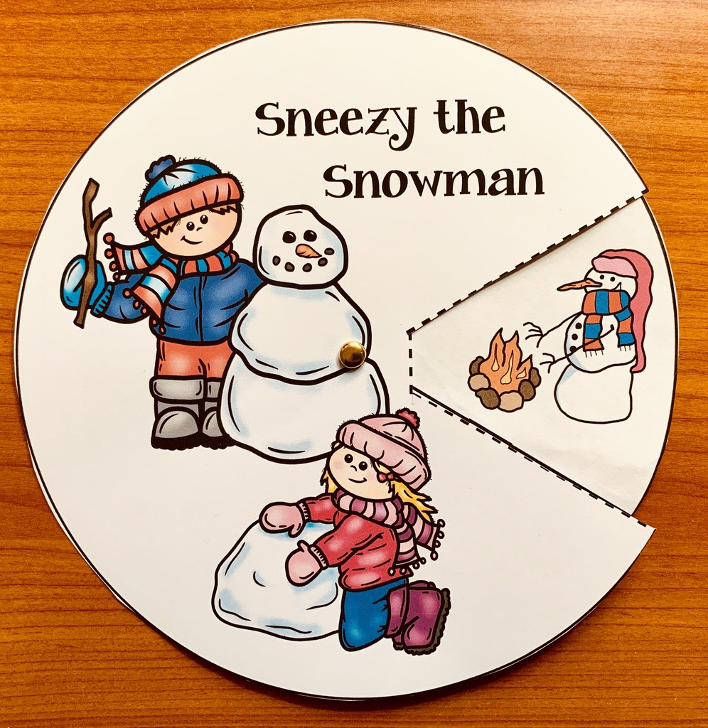 sneezy the snowman storytelling wheel 1
