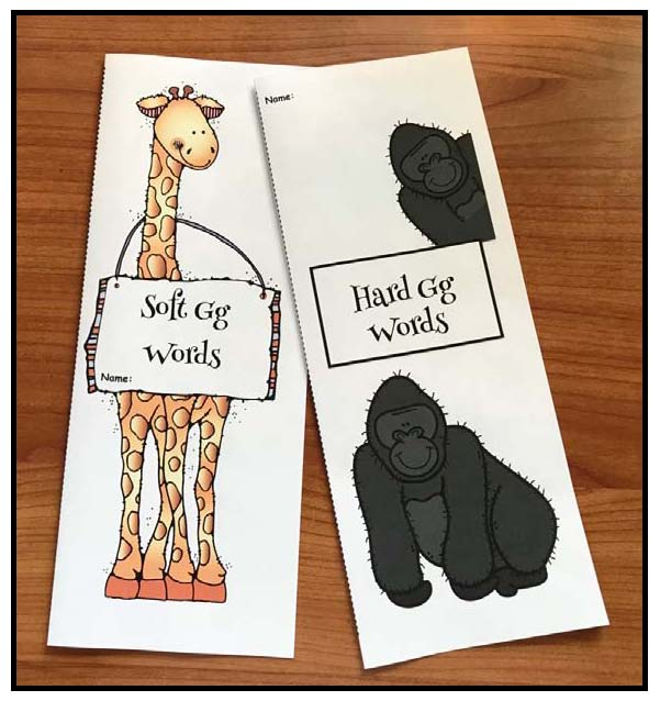 gorilla and giraffe hard and soft g flip booklets, letter g activities, letter g crafts, hard g activities, soft g activities, giraffe activities, Elkonin boxes center activities, gorilla activities, word work, daily 5 word work for the letter g