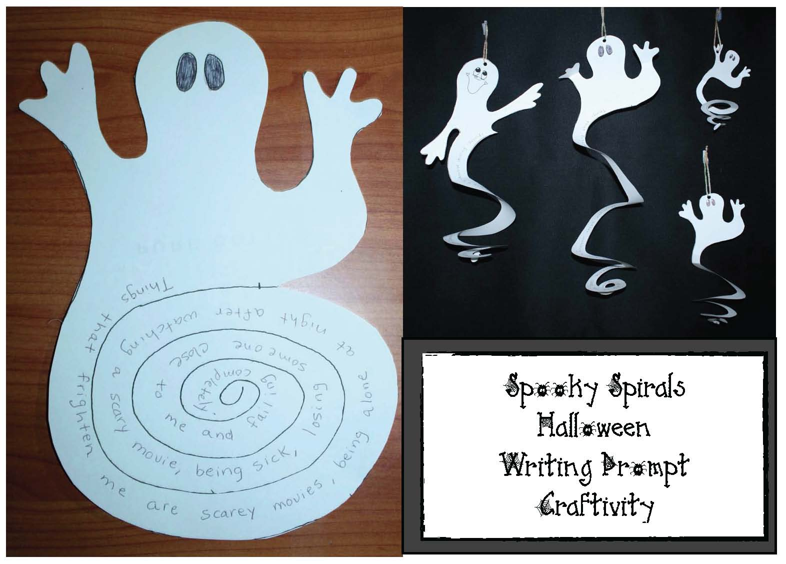 spooky spirals hallowen writing prompt craft, at family activities, Dolch sight word activities, Halloween activities, Halloween crafts, sight word crafts, sight word games, cat crafts, bat crafts, emergent reader, Halloween crafts that teach