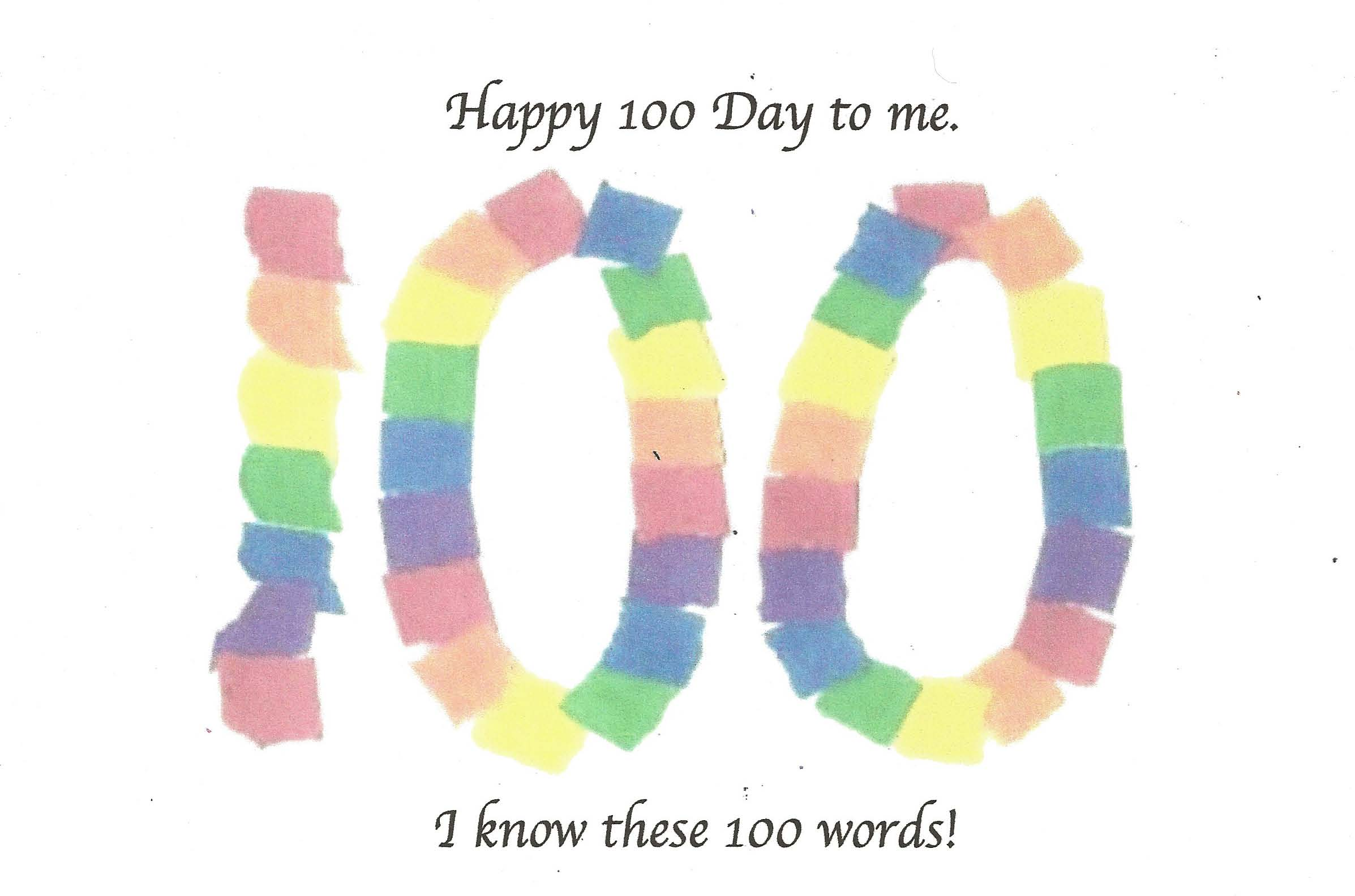 100 day word certificate, 100 day activities, 100 day ideas, 100 day word booklet,