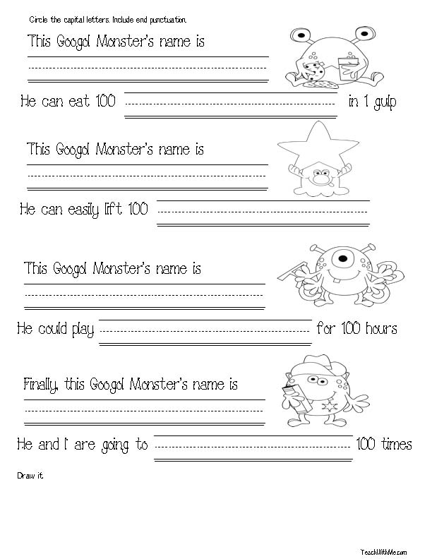 free common core lessons for kindergarten, free common core lessons for 1st grade, free common core math lessons, 100-Day activities, 100-Day bulletin boards, 100-Day lessons, bulletin boards for 100 Day, skip counting by 5's, skip counting by 10's, monster activities, monster lessons, monster math, traceable 100 grid, traceable 120 grid, skip counting activities, skip counting worksheets, skip counting lessons, monster number cards, skip counting cards, 100-Day bookmarks, 100 day writing prompts,