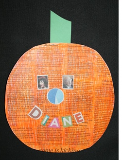 Newsprint_Pumpkin, pumpkin arts and crafts, pumpkin letters and shapes