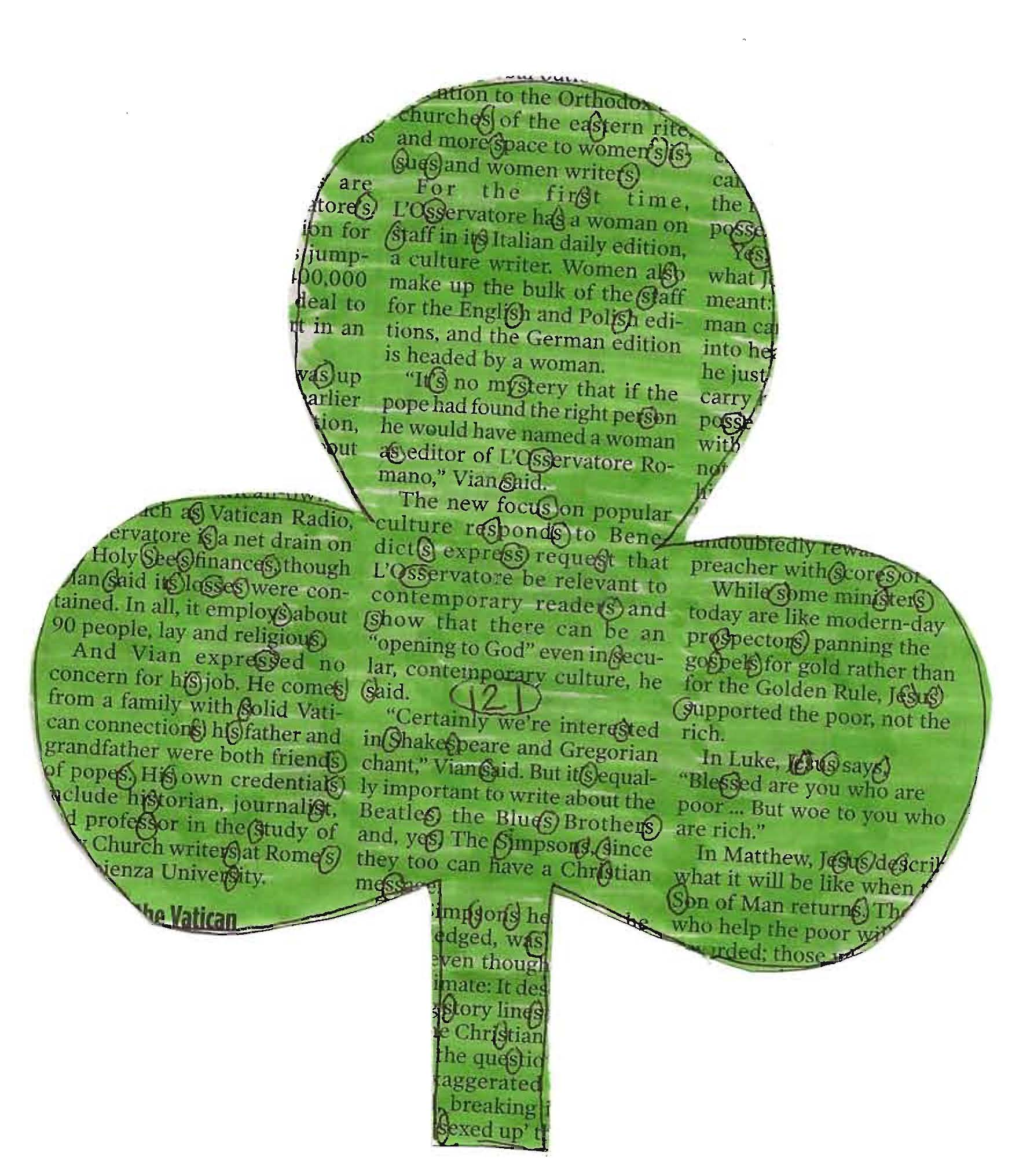 Newsprint shamrock, March art projects for kids, St. Patrick's Day ideas