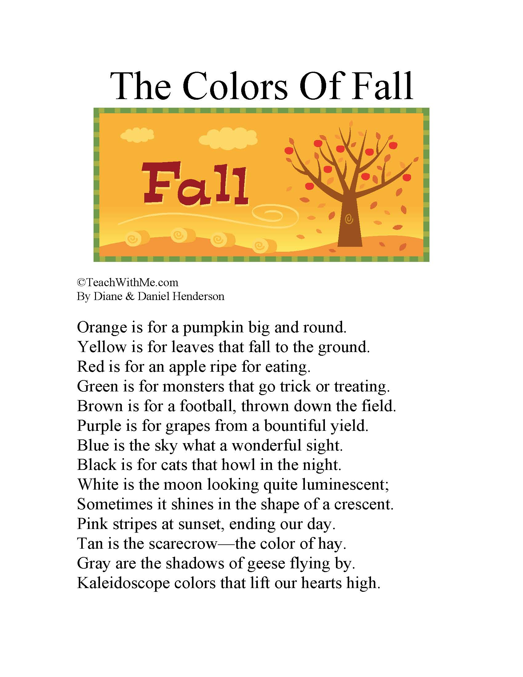 the colors of fall, color activities, color lessons, color ideas, color booklet, poetry lessons, poetry activities, rhyming activities, rhyming lessons, back to school activities, back to school lessons, lessons for the first week of school, lessons for fall,