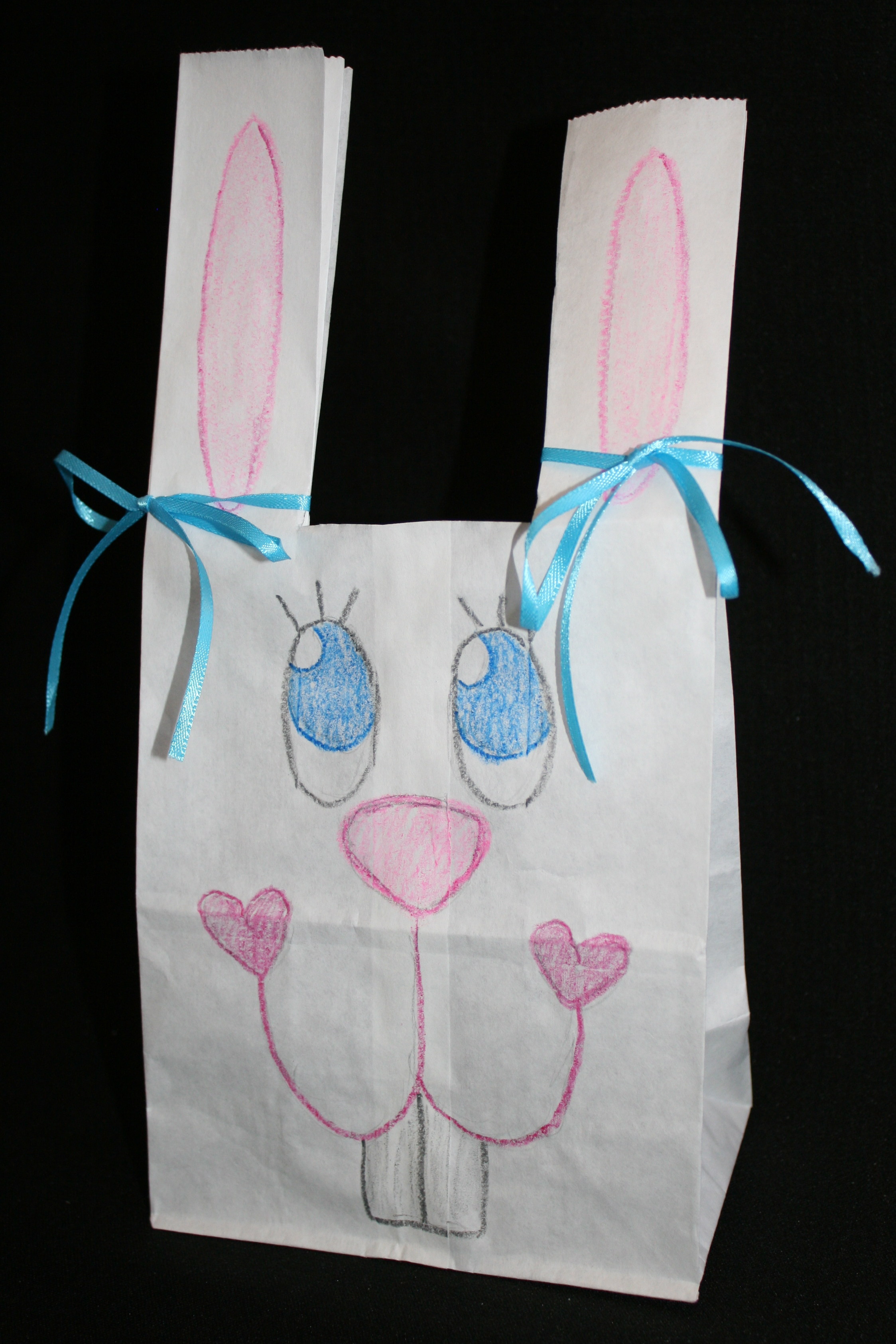 bunny lunch bag Easter basket, April art projects for kids
