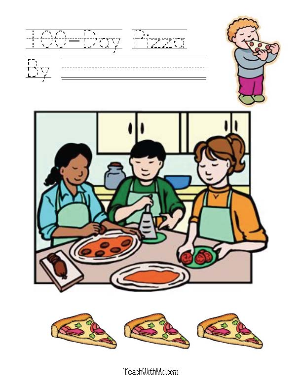 100 day activities, 100 day lessons, ideas for 100 day, skip counting by 2's, 3's, 5's, 10's, 100 day pizza, pizza with 100 toppings, easy reader booklet for 100 day, 100 day crafts, 100 day pizza, patterning, sorting shapes mat,hexagon, octagon, pentagon shape activities,  2D shape lessons, common core state standards for kindergarten, free common core state standard lessons, free CCSS lessons for kindergarten and 1st grade,