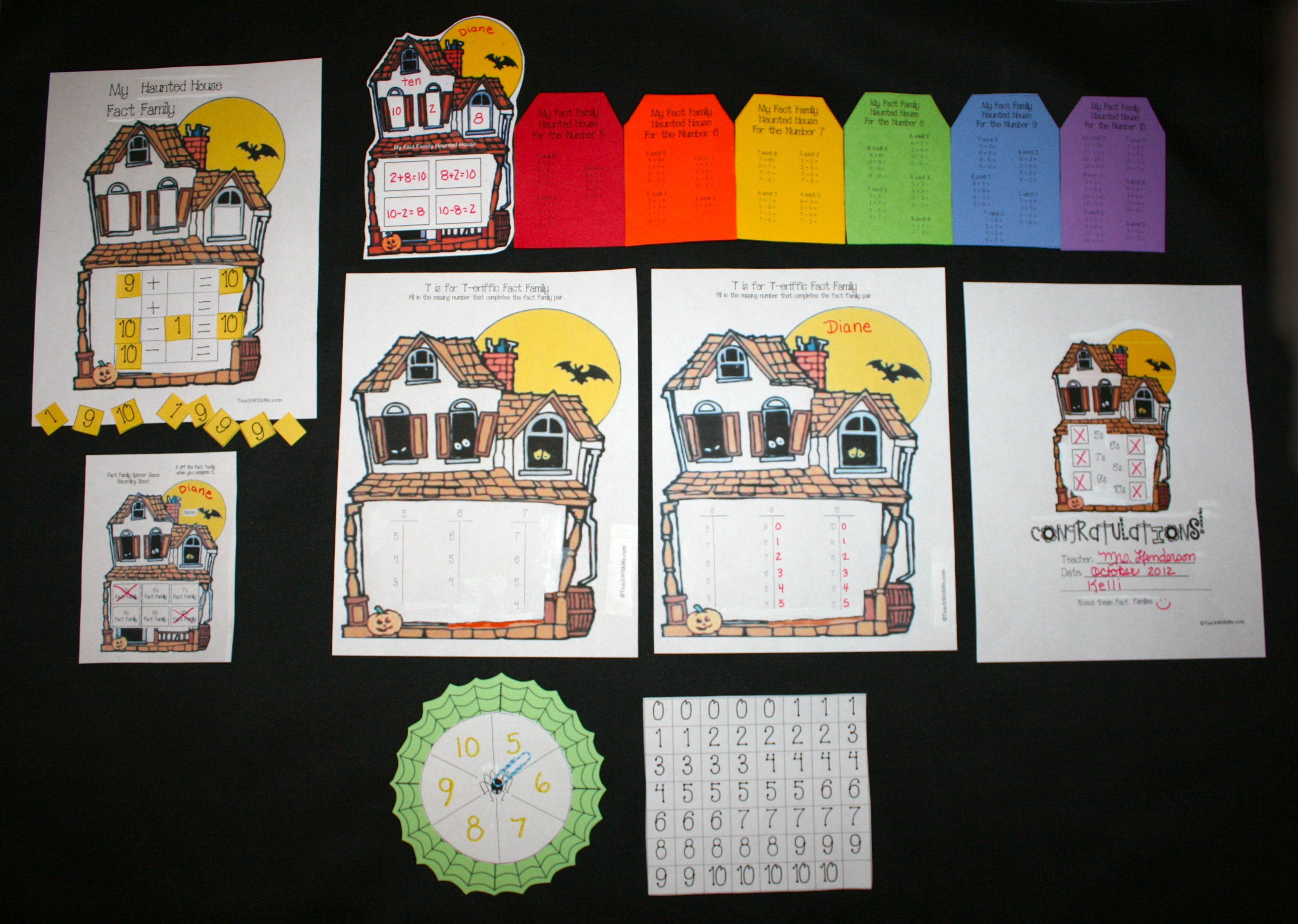 fact family activities, teaching fact families, fact family lessons, haunted house activities, haunted house lessons, haunted house themes, addition lessons, addition activities, subtraction lessons, subtraction themes, math centers, math centers for october, math centers for Halloween, math activities for halloween, halloween games, halloween math games, halloween fact families, october fact families, october math games, making dry erase boards, dry erase boards from from glosssy picture paper, fact family T-bar math worksheets, fact family certificates, math certificates,