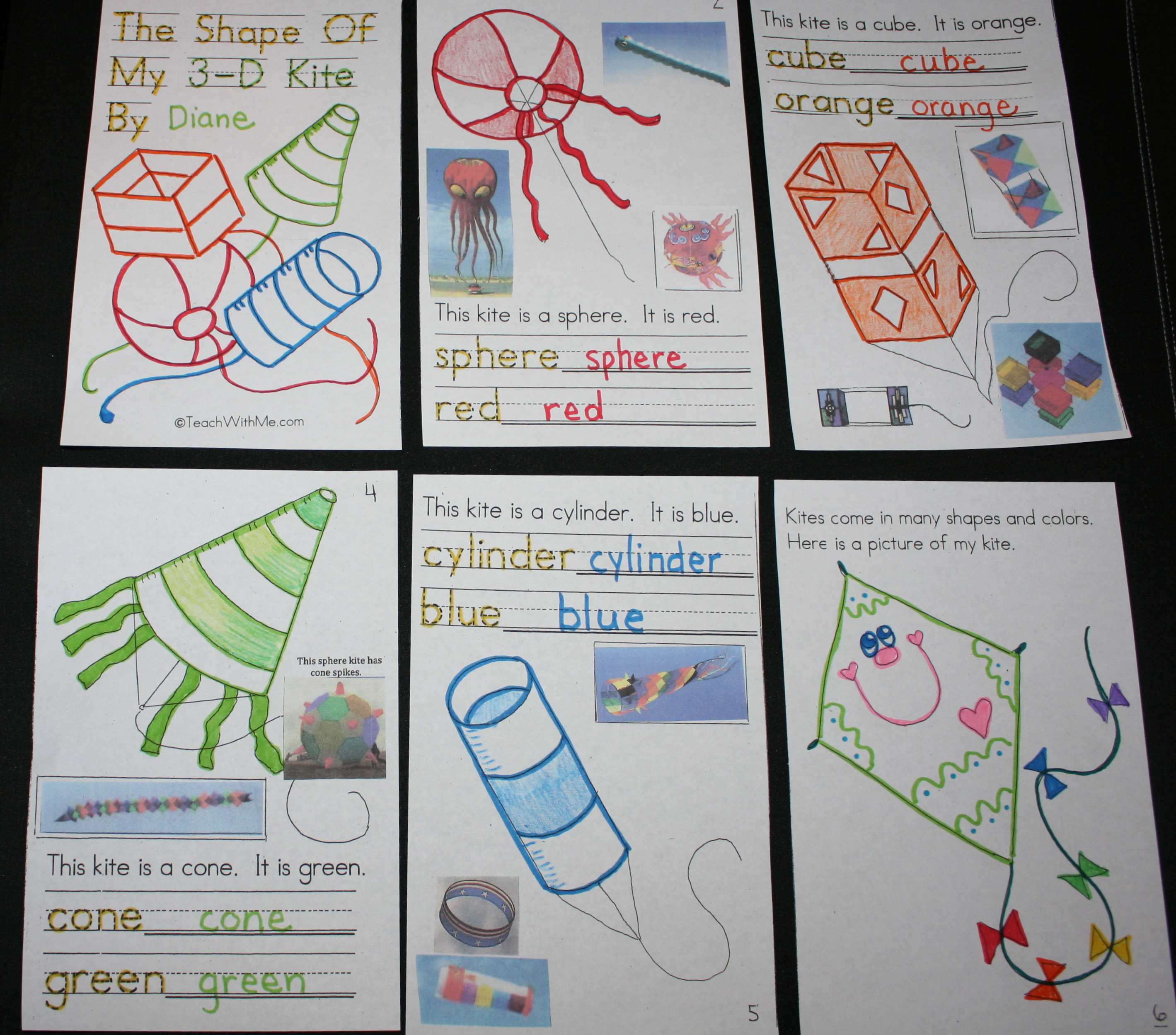kites, 3D shapes, kite booklet, kite activities for preschool kindergarten and first grade,
