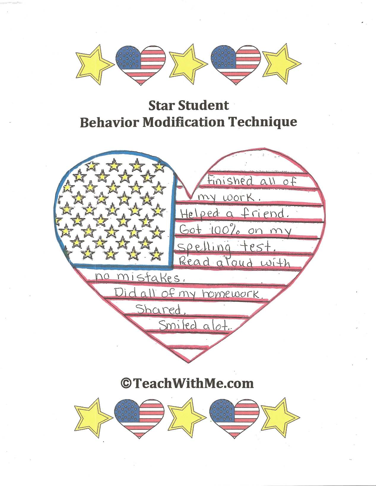 star student activity, behavior modification ideas, behavior modification techniques, behavior tips, discipline tips, discipline strategies,