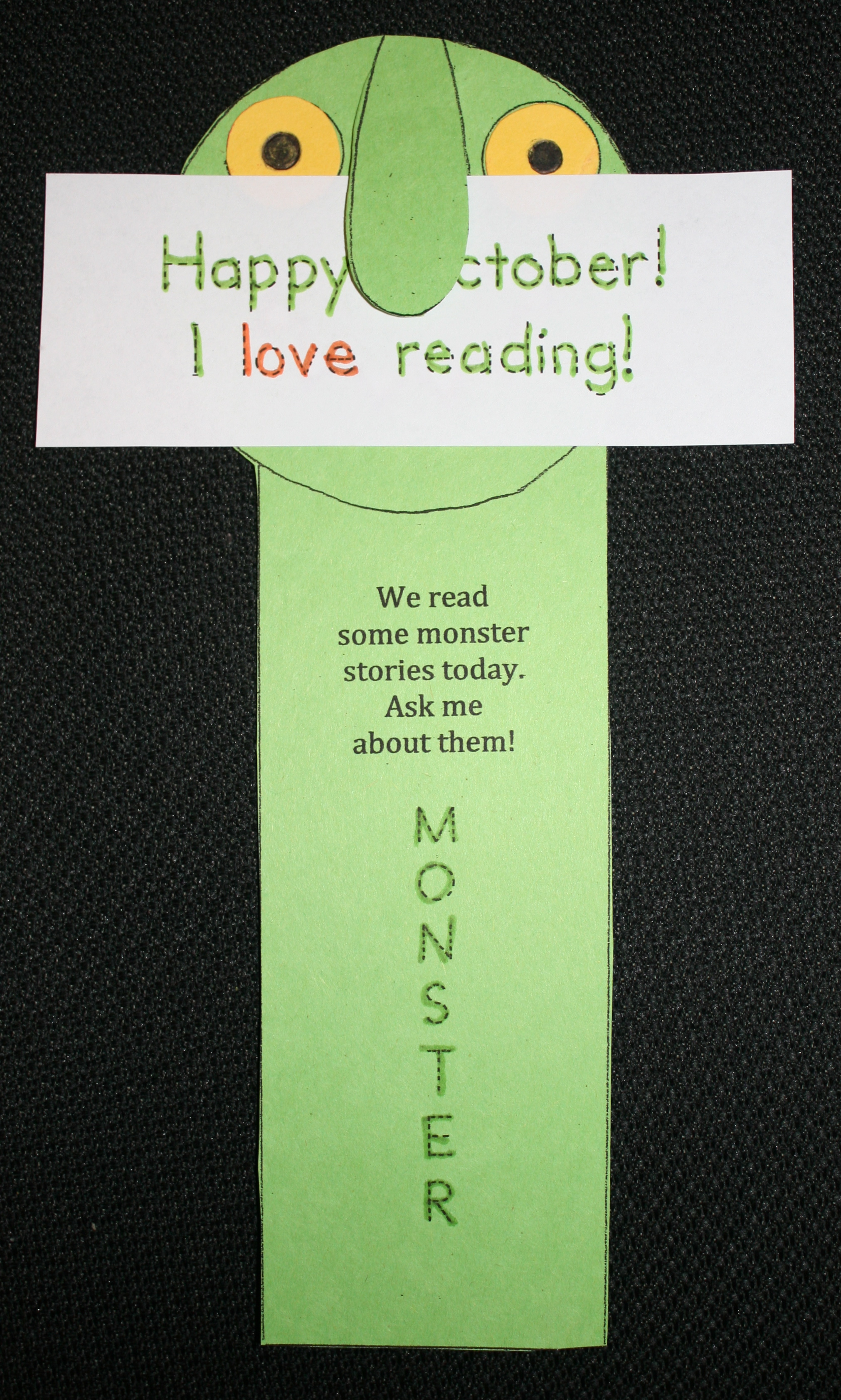 monster bookmark, monster lessons, glad monster sad monster lessons, go away big green monster lessons, monster snacks, monster games, october books, october bulletin board ideas, halloween ideas,