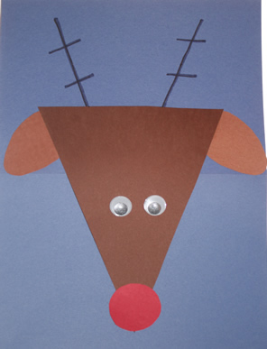 trinagle shape reindeer, Christmas crafts for kids, keepsake Christmas crafts, December art projects for kids, art projects for preschool, kindergarten and first grade