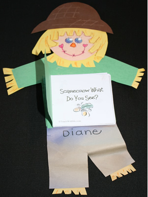 scarecrow booklet, scarecrow crafts for kids, November crafts for kids
