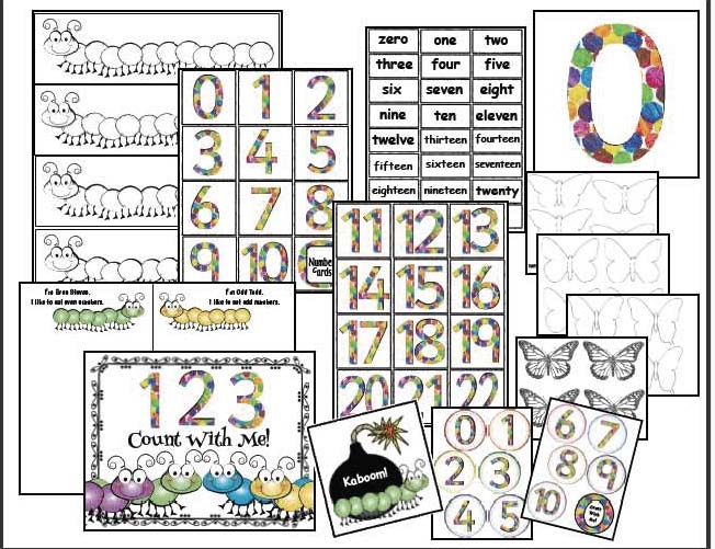 very hungry caterpillar activities, caterpillar crafts, spring bulletin board ideas, butterfly activities, butterfly crafts, 2D shape activities, 3D shape activities, alphabet crafts, skip counting activities, coin crafts, coin activities, telling time to the hour activities, spring word work,