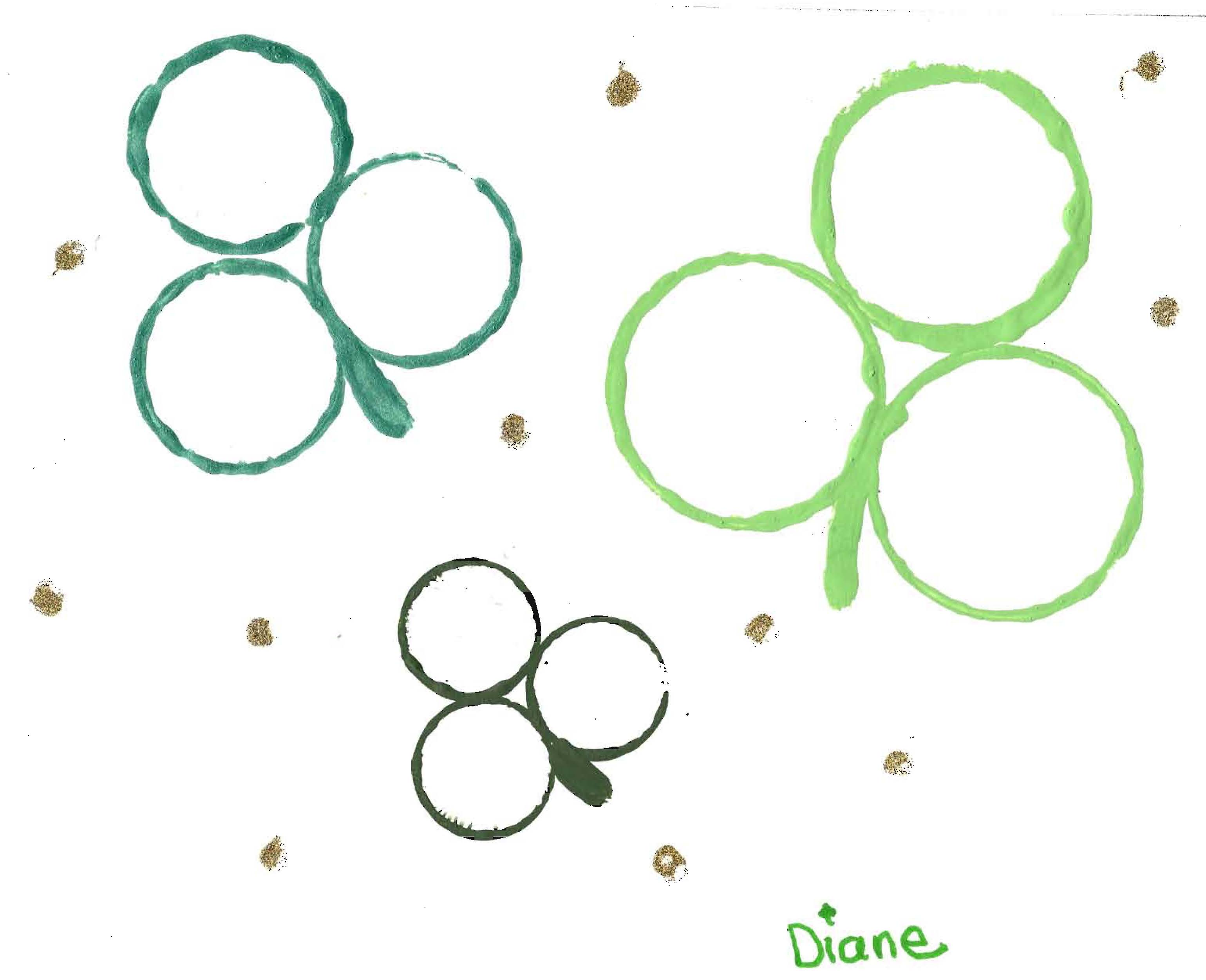 shamrock art, ideas for St. Patrick's Day, Crafts for kids for March, shamrock painting