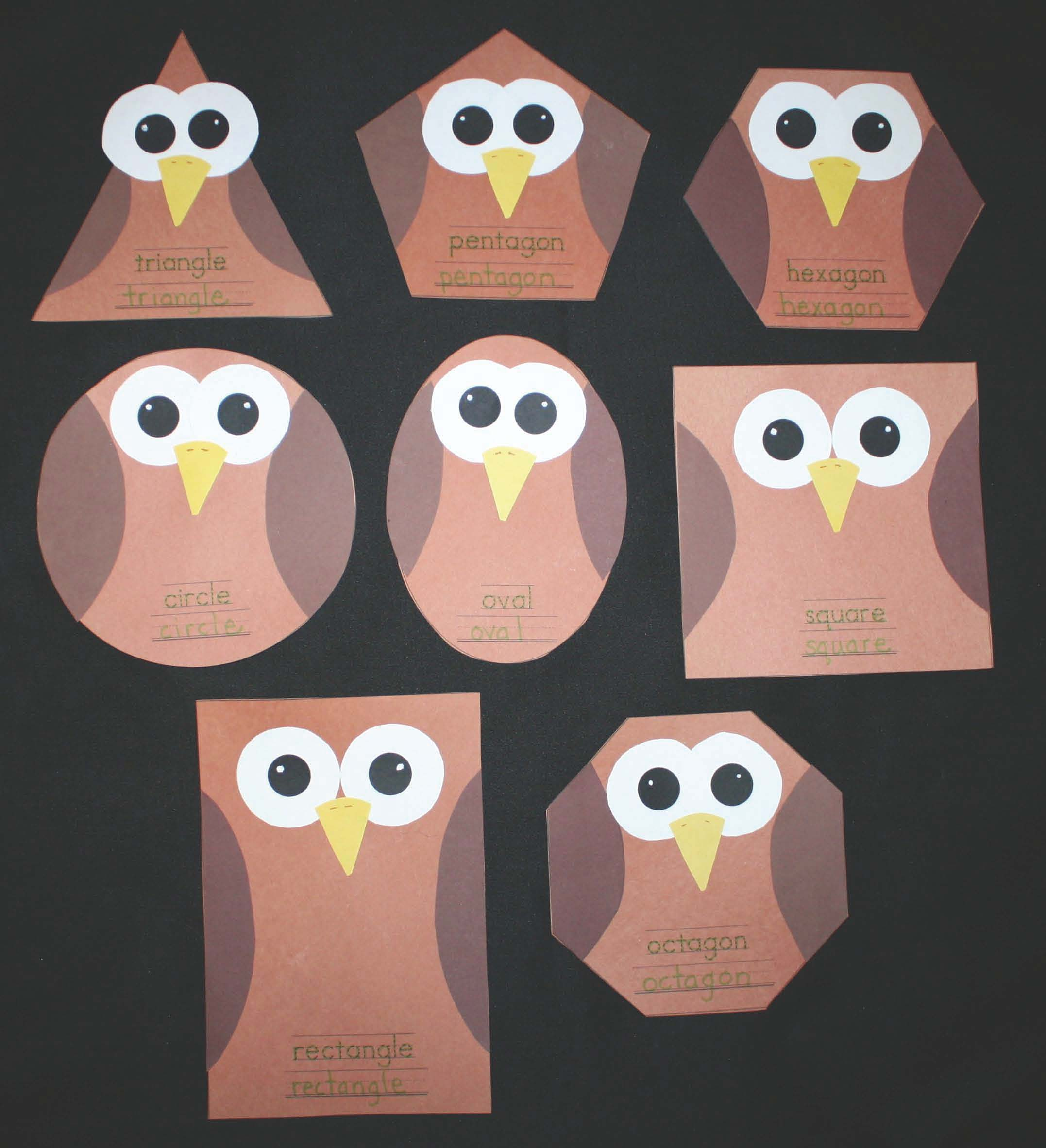owl activities, owl crafts, owl shapes, silly shaped owls, silly shaped penguins, owl lessons, owl bulletin boards, shape bulletin boards, Daily 5 activities, daily 5 word work, common core owls, common core for kindergarten, common core for 1st grade, free common core math for kindergarten and 1st grade, 2D shapes, hexagon actities, shape booklet, graphing activities,