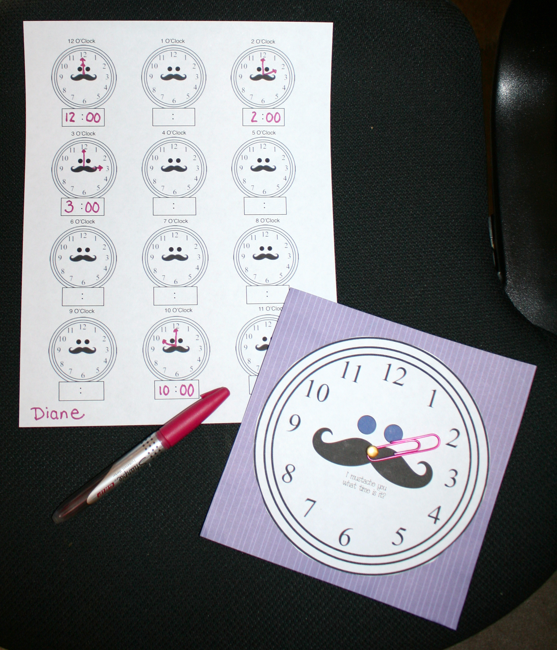 telling time activities, telling time games, 1.MD.3 common core lessons for kindergarten, common core lessons for 1st grade, mustache games, mustache activities, mustache lessons, clock templates, clock games, digital time worksheets, analog time worksheets, free common core lessons for kindergarten and first grade,
