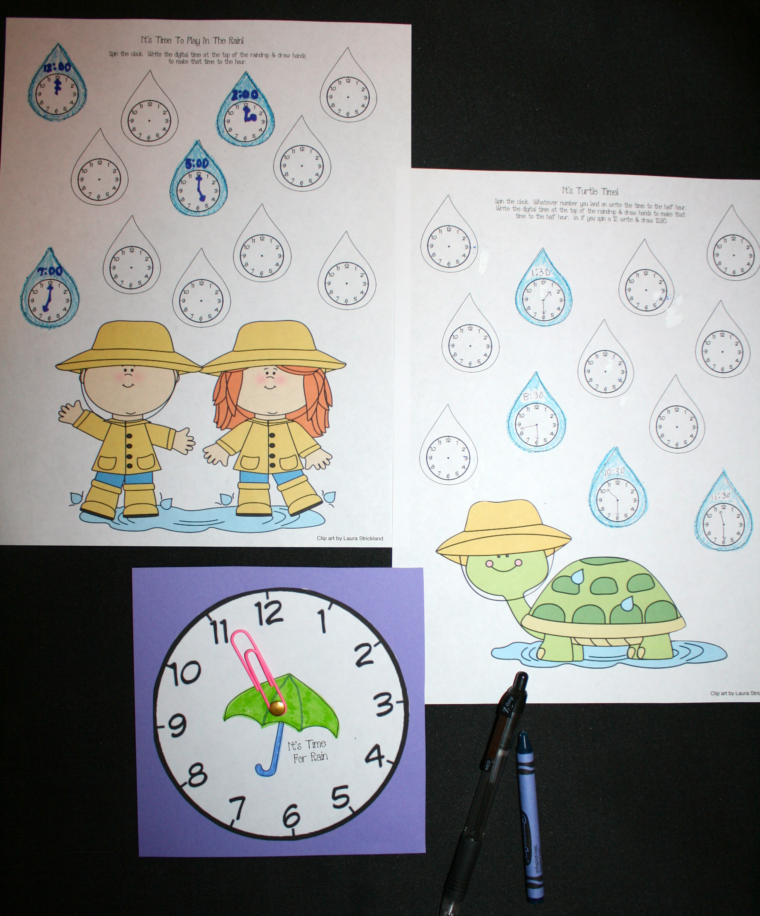 telling time activities, telling time lessons, telling time games, telling time centers, clock templates, clock spinners, clock games, 1.MD.3, free common core for kindergarten, free common core for 1st grade, CCSS time, rain activities, weather activities, weather lessons, weather games, rain games,