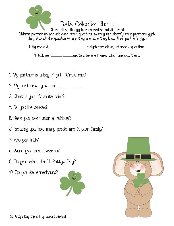 shamrock glyph, glyphs for March, glyphs for st. patricks day, st. patrick's day activities, st. pattys day lessons, listening and following directions assessments, assessments for listening and following directions, graphing activities, march graphs, st. patricks day graphs, st patrick's day glyph, free common core for 1st grade, 1.MD.4,