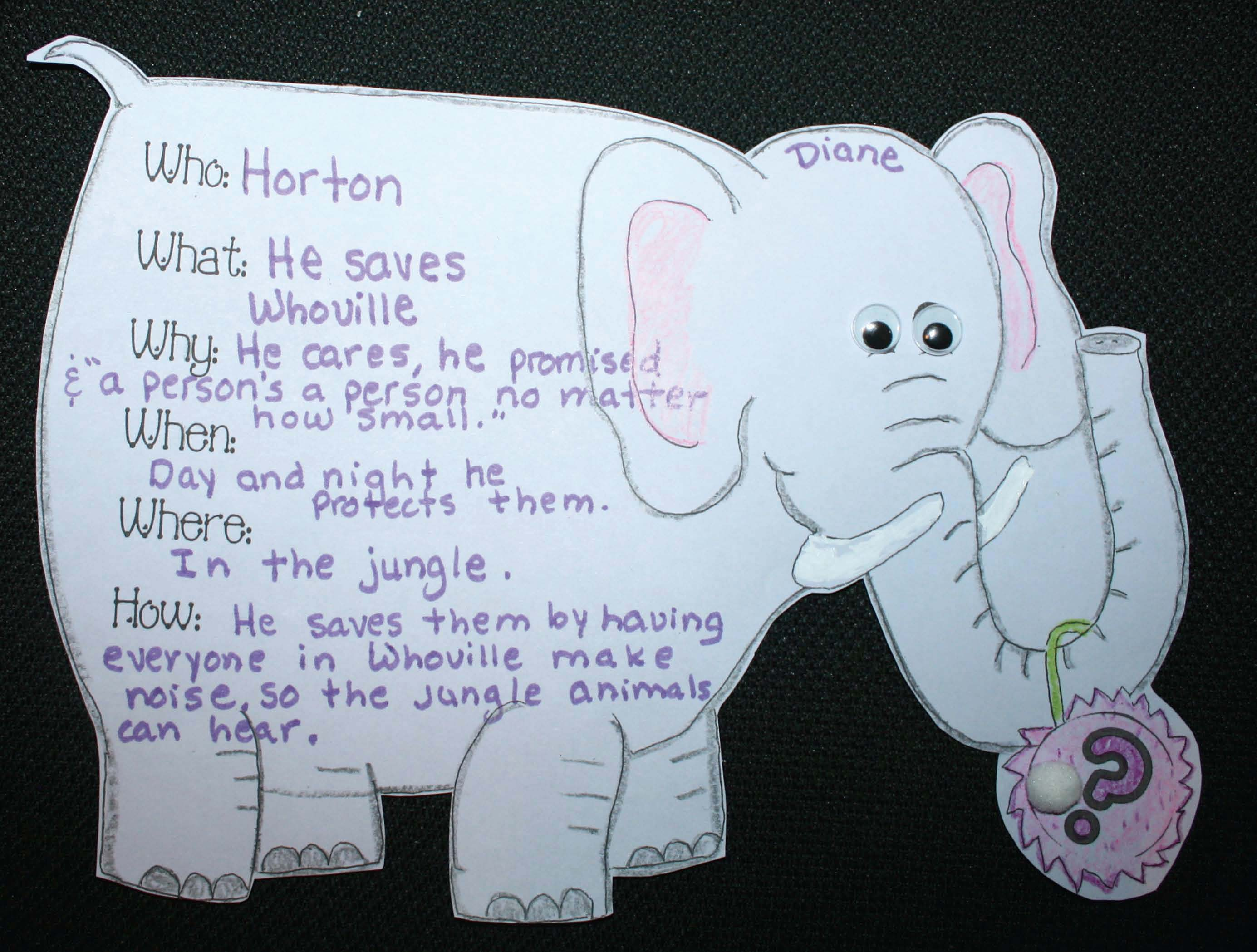 horton hears a who activities, horton crafts, horton video, horton writing prompts, elephant crafts, elephant activities, elephant mask, elephant puppet, Seuss activities, Seuss crafts, Seuss games, comparing Elmer with Horton activities, common core Seuss, common core horton hears a who, alphabetical list of words that rhyme with who