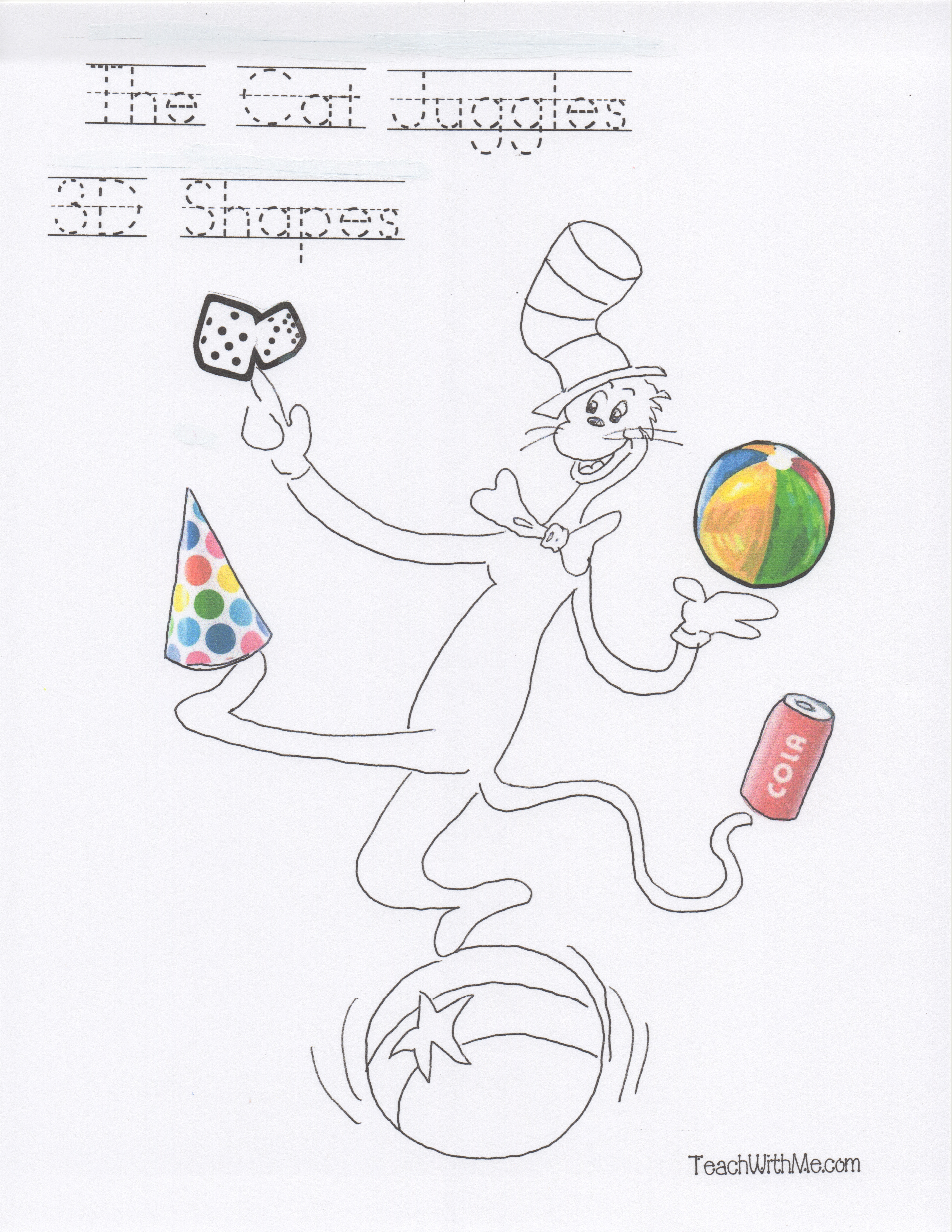 cat in the hat activities, cat in the hat lessons, cat in the hat ideas, cat juggles shape booklet, shape booklets, 2D shape activities, 3D shape activities, hexagon activities, cone cylinder cube sphere activities, Seuss lessons, Seuss activities, Seuss ideas, end punctuation lessons, capital letter lessons, end punctuation activities, capital letter activities,