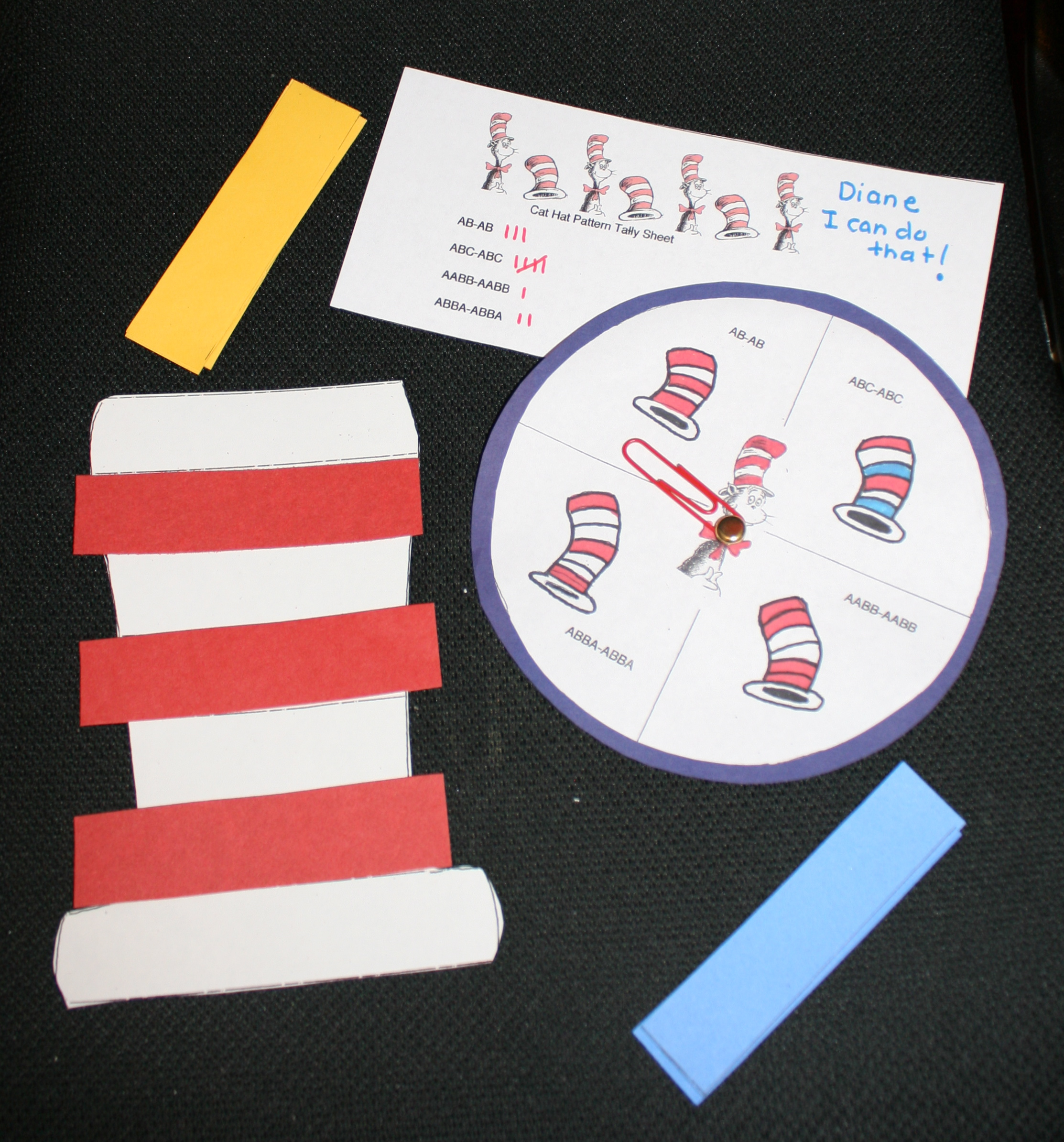 Dr. Seuss activities, cat in the hat activities, patterning activities, patterning lessons, cat in the hat lessons, dr. seuss lessons, dr. seuss games, cat in the hat games,