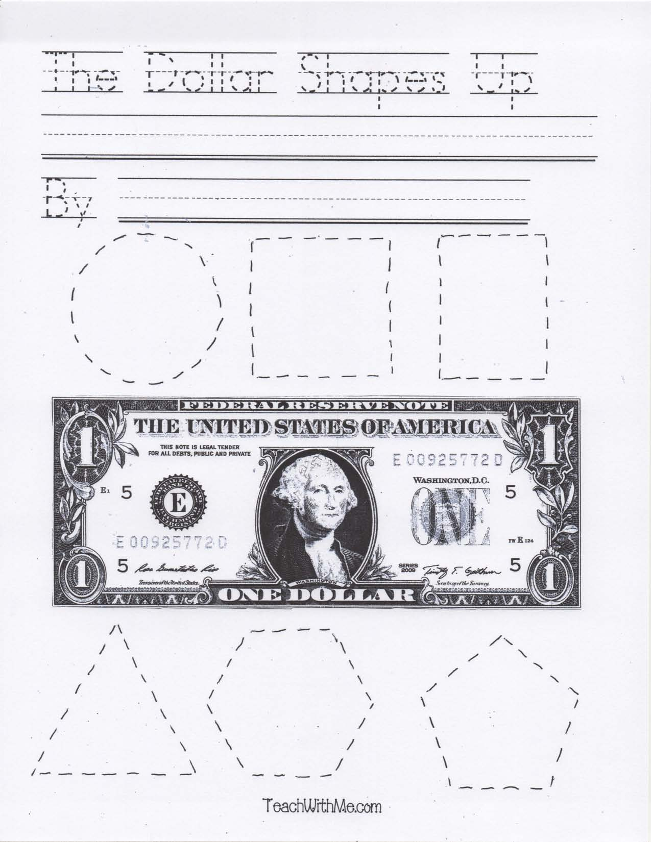 President's Day activities, The Dollar Shapes Up easy reader, FREE Common Core lessons for kindergarten and 1st grade, President's Day lessons, Washington lessons, Washington activities, Dollar activities, Dollar lessons, money activities, money booklet, dollar booklet,