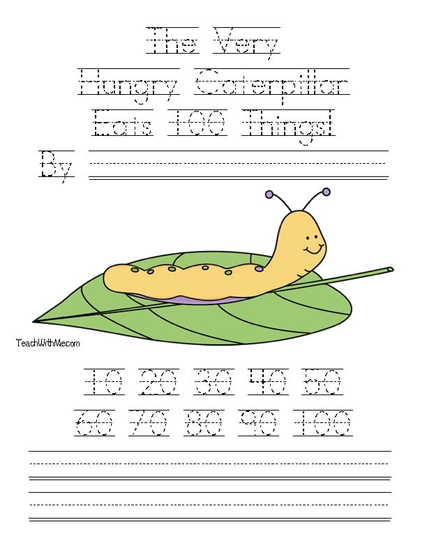 The very hungry caterpillar activities, 100-Day activities, CCSS: RF.K1a, RF.K.1c, RF.K.3a, RL.K.10, RF.K.4, L.K.2a, L.K.2b,L.K.5a, K.OA.1a, K.MD.3 K.CC.1a, K.CC.5, 1.NBT.2c, 1.NBT.5, 1.MD.3,100-Day lessons, 100-Day counting booklet, skip counting by 10's, counting to 100 by 10's activities, Eric Carle activities, Eric Carle lessons, caterpillar lessons, butterfly lessons, common core state standards for kindergarten and 1st grade, free common core lessons, caterpillar crafts,