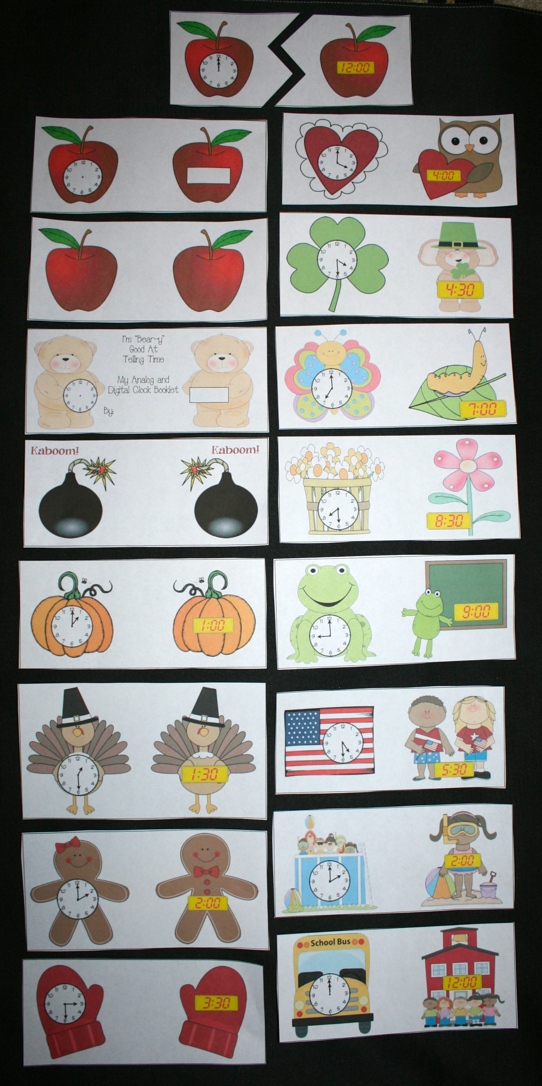 telling time activities, analog clock cards, digital clock cards, telling time games, 1.Md.3, teacher clocks, monthly clocks, seasonal activities with clocks, fun telling time,telling time assessments,