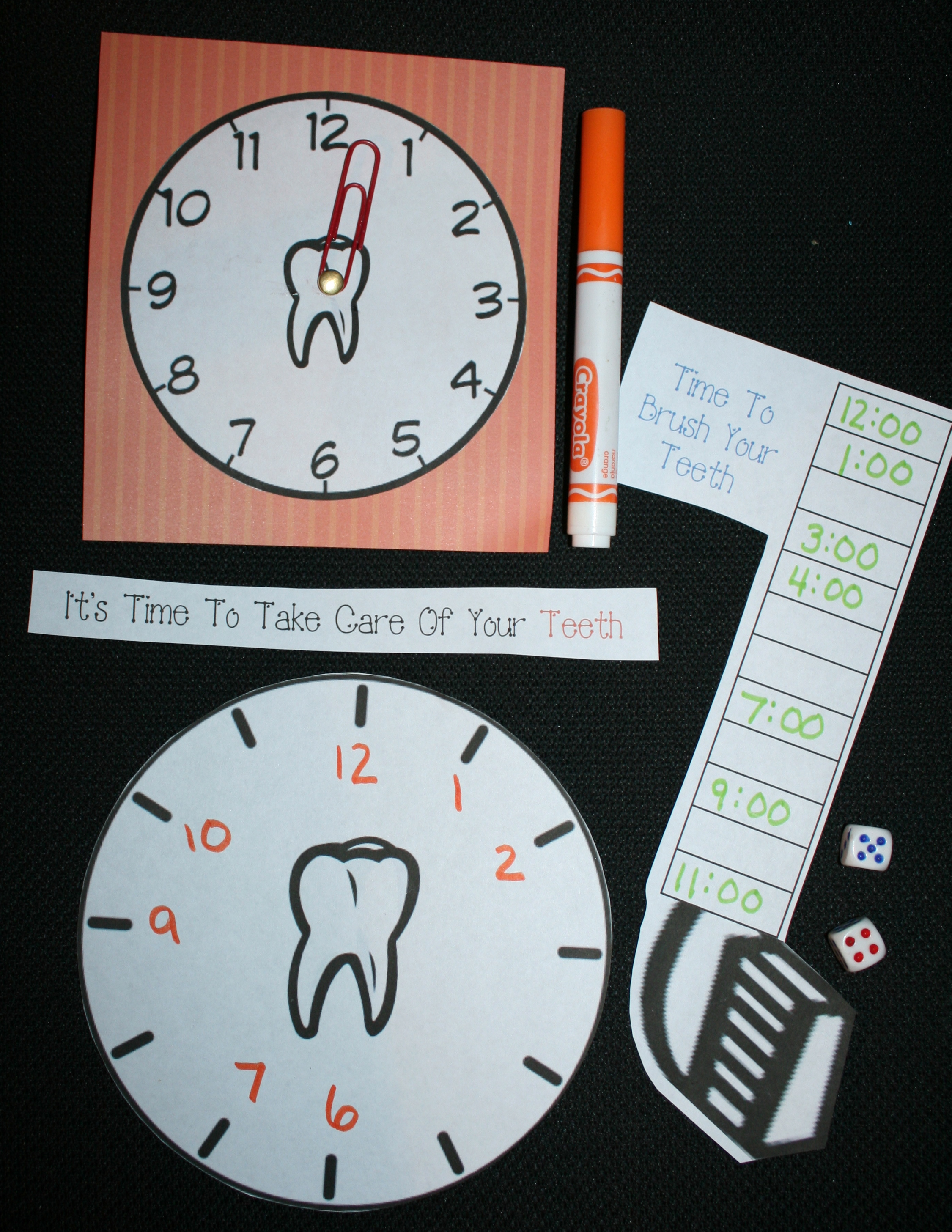 dental hygiene activities, telling time games, free common core lessons for first grade, telling time to the hour lessons, tooth activities, tooth games, dental hygiene month activities,