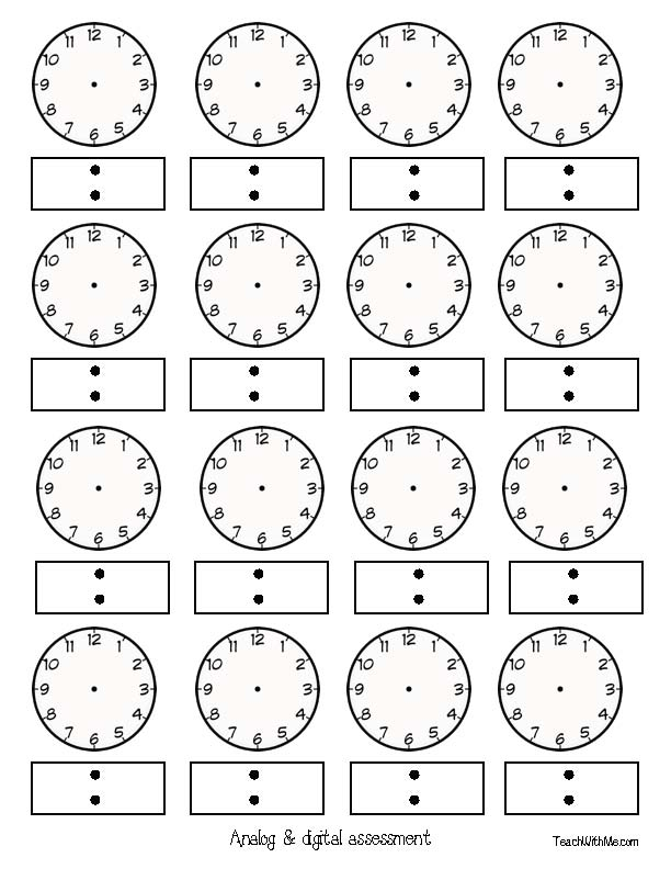 clock templates, analog clock templates, digital time templates, digital time assessments, analog time assessments, teacher clocks, student clocks, clock face templates, 30 clock templates, free common core lessons for first grade, fraction clocks, fraction activities, telling time lessons, telling time games, telling time spinners