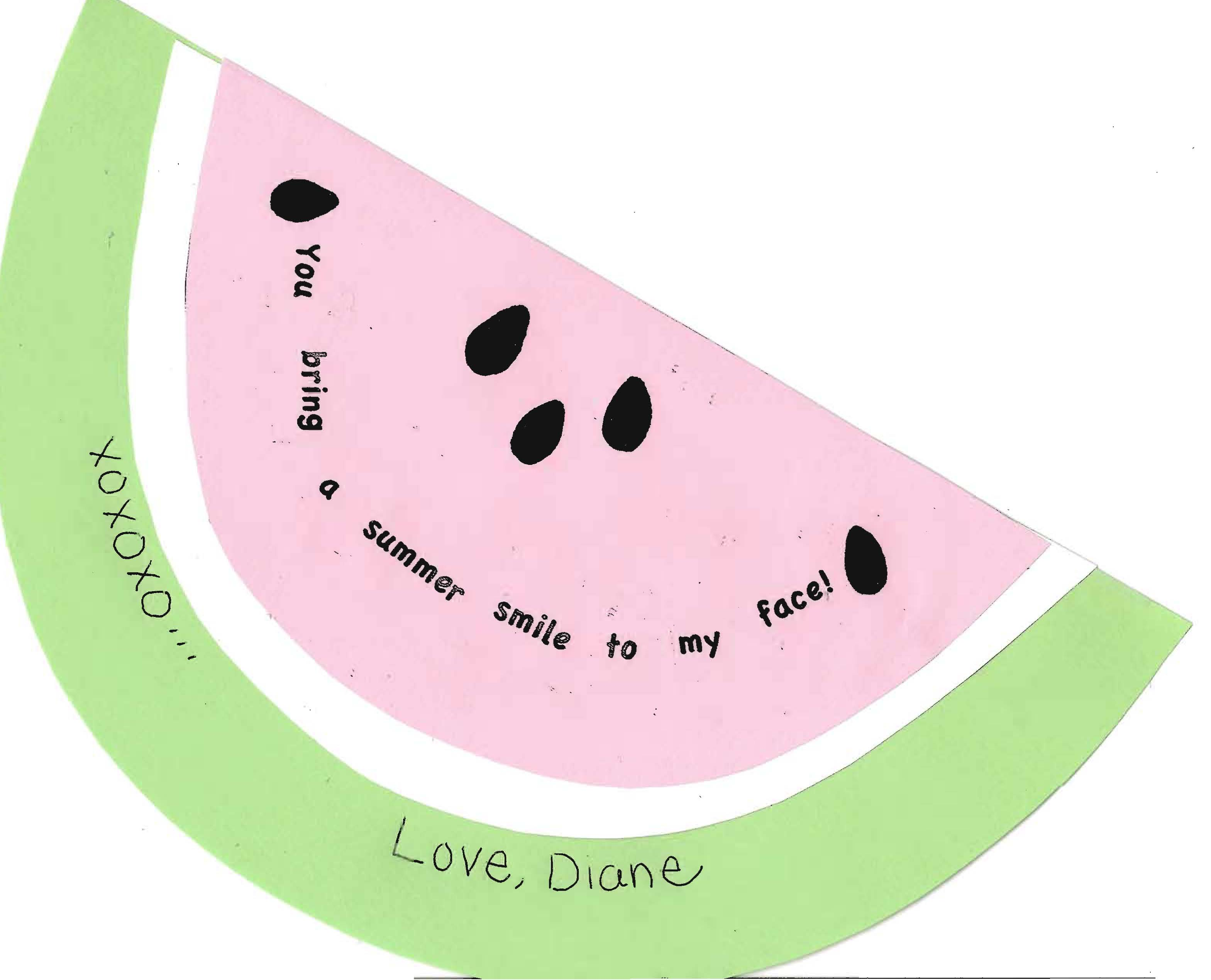 watermelon_smile_card, summer art activity, projects to do with kids during the last week of school, watermelon card