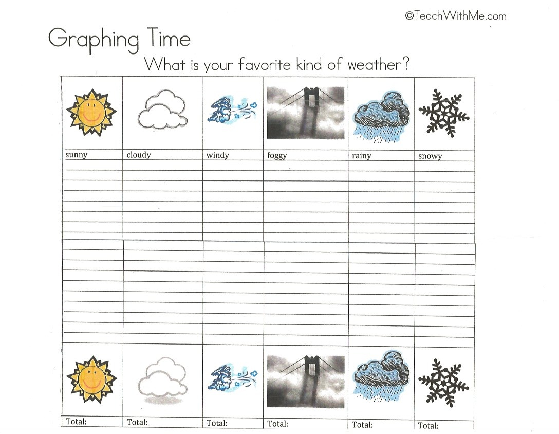 weather booklet, activities for weather, ideas for weather, activities for weather for preschool kindergarten and first grade, graphing weather, weather graph,