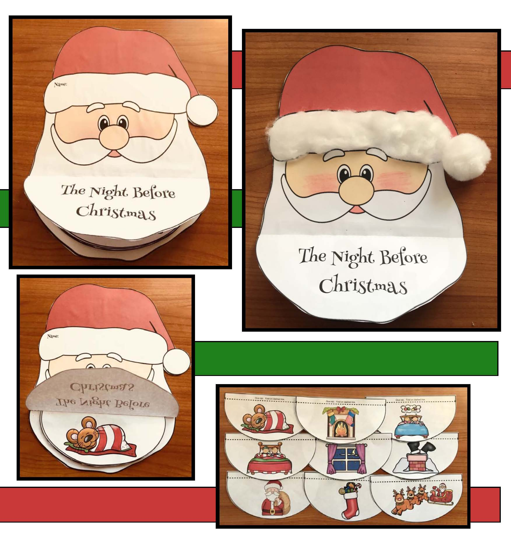 activities for the night before christmas, christmas crafts for kids, santa crafts, december literacy centers, december writing prompts, december bulletin boards, christmas cards for kids to make