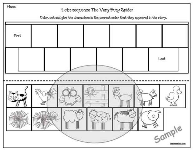 "Storytelling sliders are also an easy & interesting way to assess comprehension.  I've included 2 ""Let's sequence the story"" worksheets for this, where students color and trim the picture ""windows"" then glue them in the correct order on the blank worksheet."