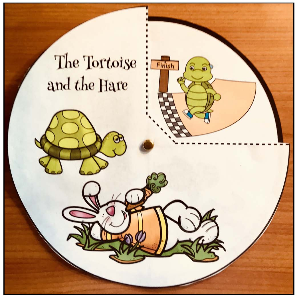 the tortoise & the hare fable, the hare & the tortoise fable, aesops fables, storytelling wheels, story telling sliders, storytelling crafts, story telling flip ups, activities for aesops fables, fables, the moral of the story, aesop fables crafts