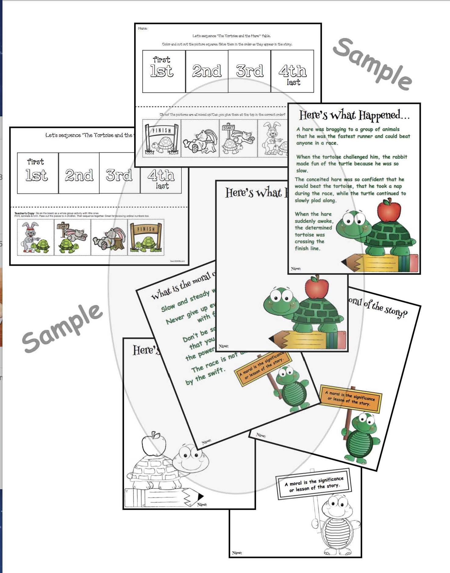 tortoise the hare worksheets
