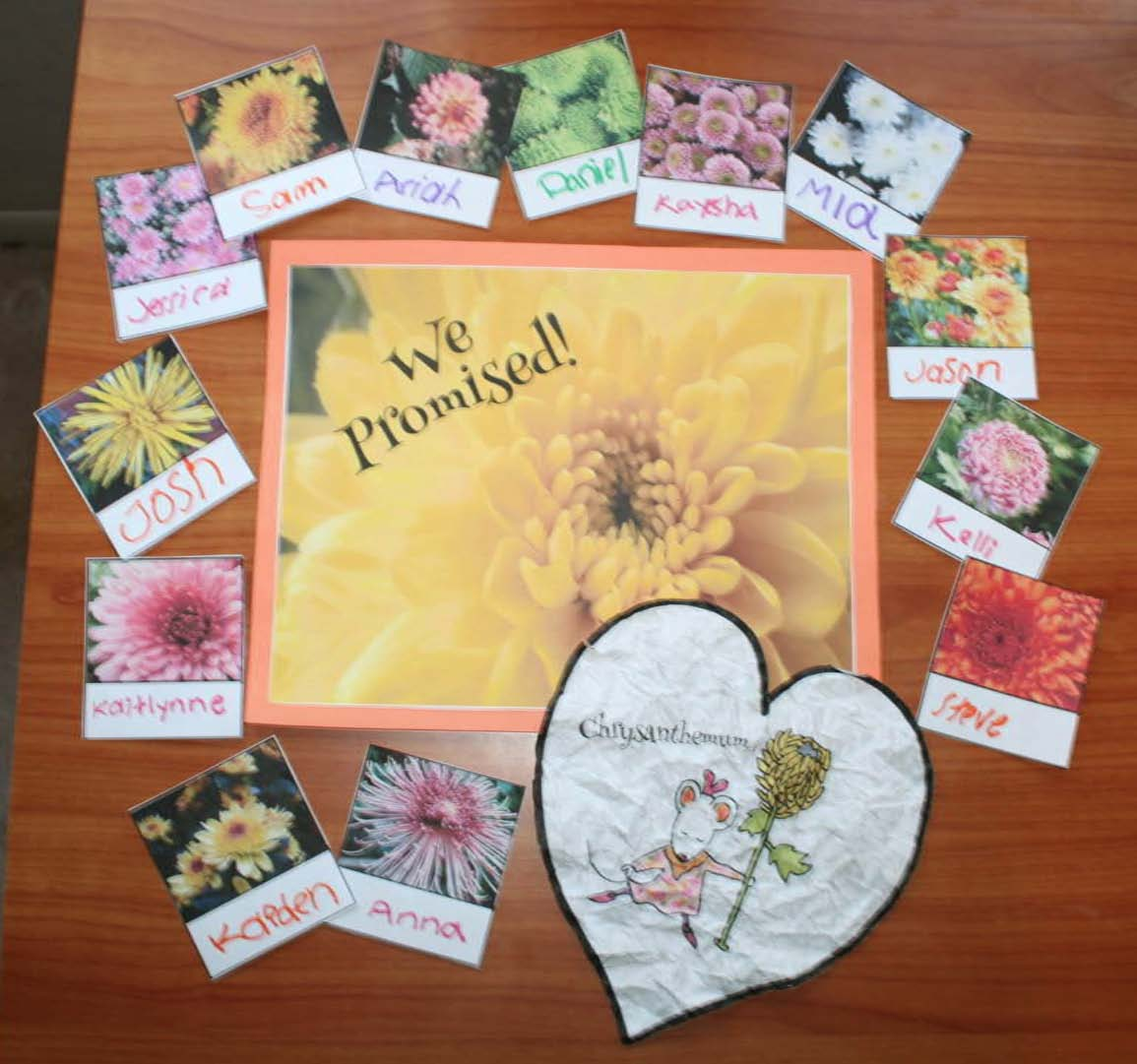 chrysanthemum activities, chrysanthemum crafts, paper flower crafts, back to school activities, bucket filling activities, chrysanthemum writing prompts, back to school bulletin boards, classroom management ideas