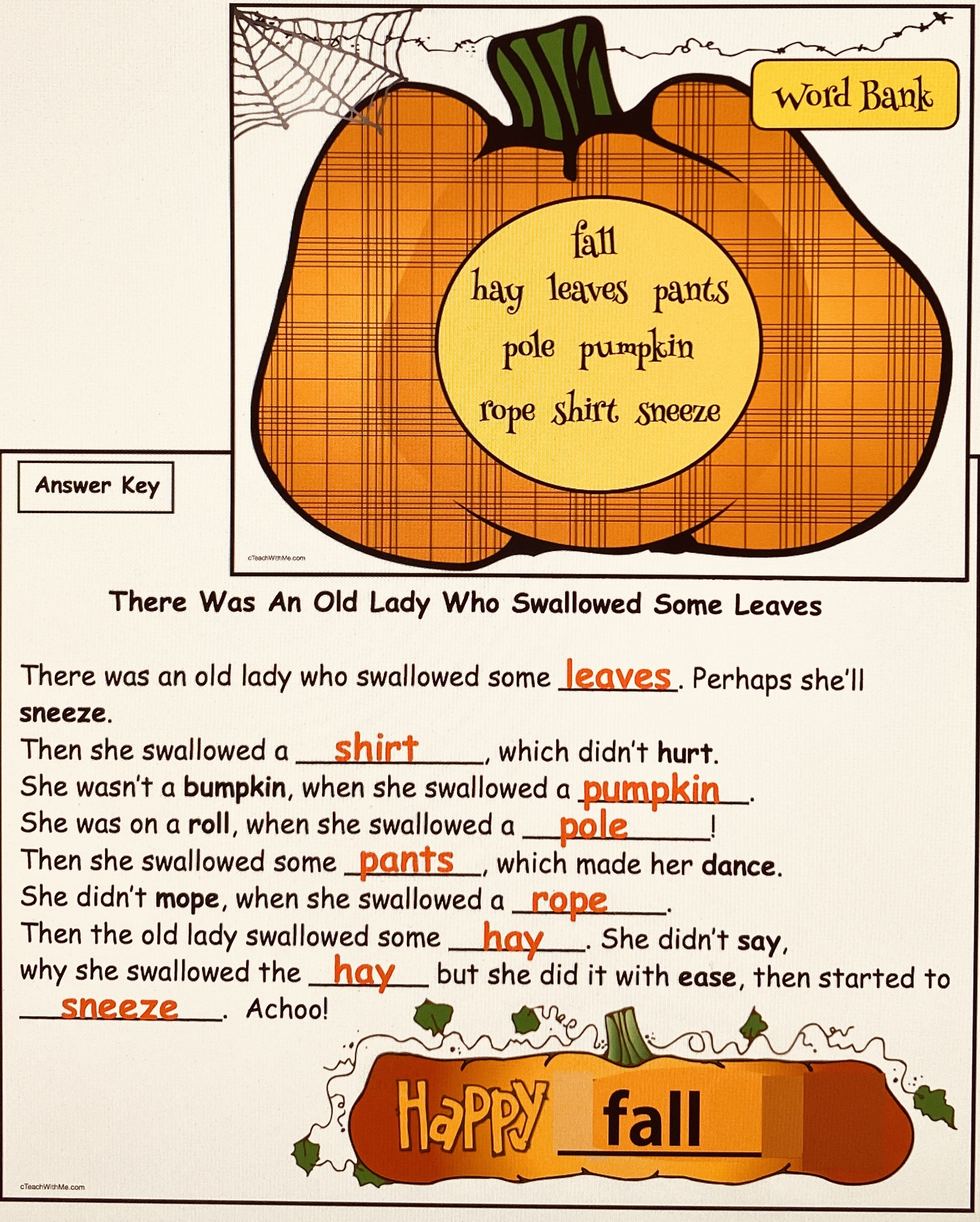 word bank worksheet for the old lady who swallowed some leaves, activities for the little old lady who swallowed some leaves, the little old lady who swallowed some leaves, activities for there was an old lady, fall bulletin board ideas, fall writing prompts, sequencing & retelling a story activties, literacy centers for fall