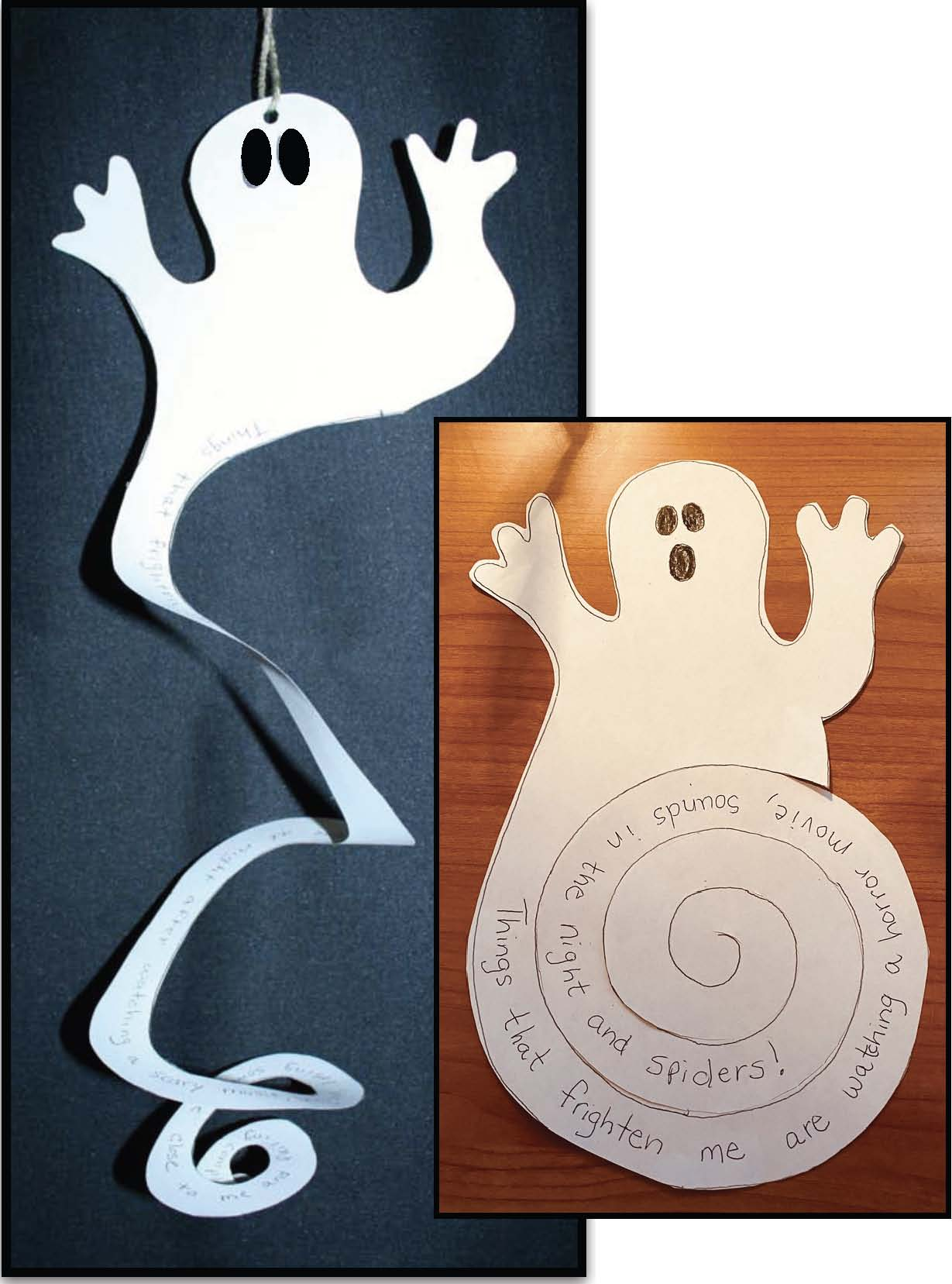 writing prompt on a ghost spiral copy, ghost craft, Halloween activities, Halloween crafts, Halloween decorations, October writing prompts, ghost activities, spiral activities, Spooky Spirals, Halloween posters, Cutting practice