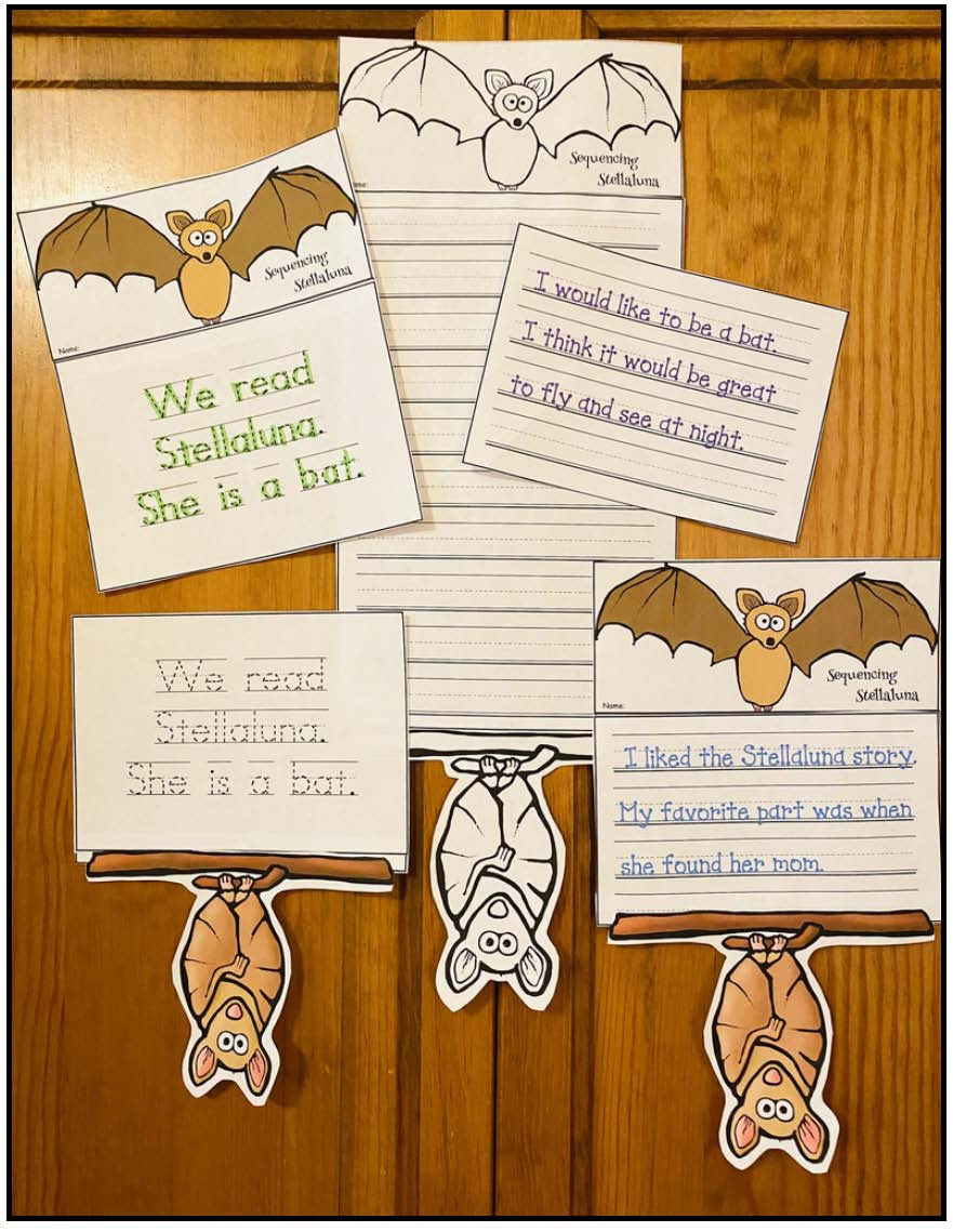 writing prompts for stellaluna, activities for Stellaluna, bat activities, bat centers, literacy centers for October, bat bulletin board, Stellaluna craft, writing prompts for October, sequencing & retelling a story activities