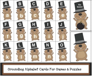 Groundhog Alphabet Cards