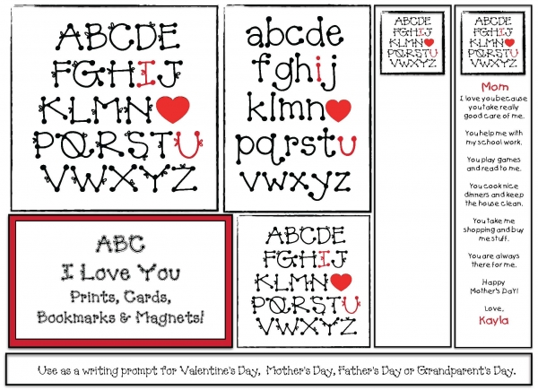 ABC I Love You Writing Prompt Craftivity