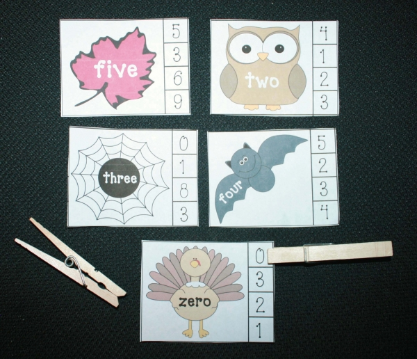 Fall Number Word Matching Games