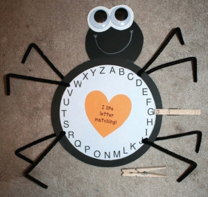 Alphabet Spider - Clothespin Matching Game